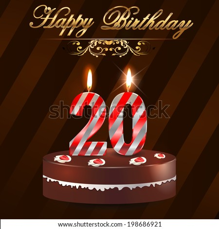 20 Year Happy Birthday Card With Cake And Candles 20th Birthday