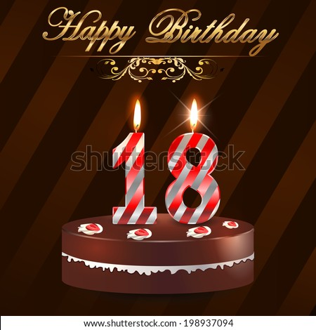 18 Year Happy Birthday Card With Cake And Candles 18th