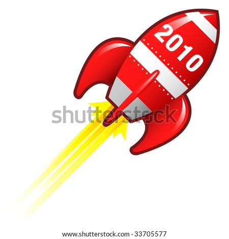 2010 year icon on red retro rocket ship illustration good for use as a button, in print materials, or in advertisements.