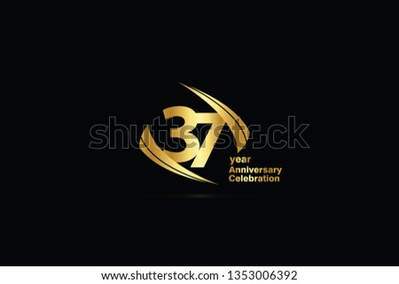 37 year minimalist logo years, jubilee, greeting card. Birthday invitation. Sign Cube Line Gold space vector illustration on black background - Vector