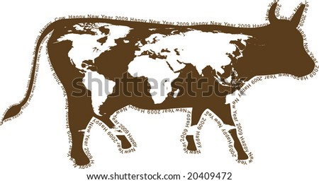 2009 - year of a cow. Chinese horoscope. Coloration of a cow in the form of a world map. A contour - a congratulatory text.