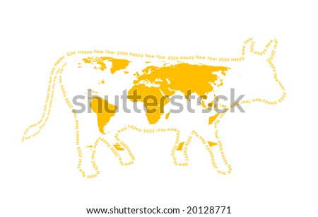 2009 - year of a yellow cow. Coloration of a cow in the form of a world map. A contour - a congratulatory text.