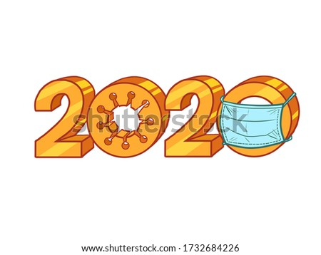 2020 year of coronavirus covid19 pandemic. Comics caricature pop art retro illustration drawing