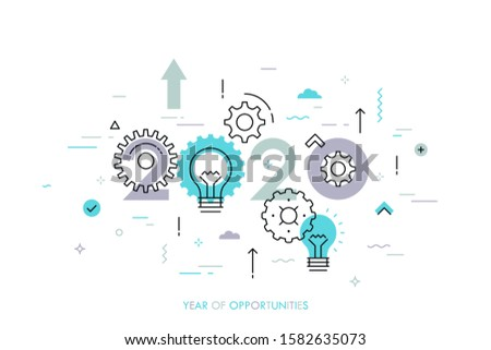 2020 - year of opportunities. Plans and perspectives in industrial development, innovative technology, energy or electricity generation. Infographic concept. Vector illustration in thin line style.