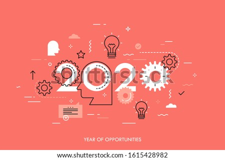 2020 - year of opportunities. Trends and perspectives in innovative ideas generation, creative thinking, human intelligence, creativity. Infographic concept. Vector illustration in thin line style.