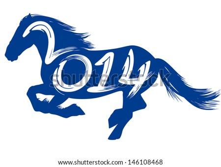 2014 year of the blue horse, typography, calligraphy. Happy New Year. - stock vector