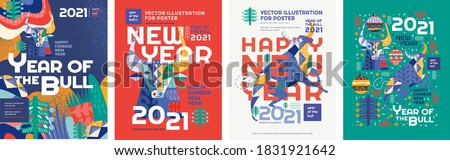 2021. Year of the bull. Vector abstract illustration for the new year for poster, background or card. Geometric drawings for the year of the bull according to the Eastern Chinese calendar
