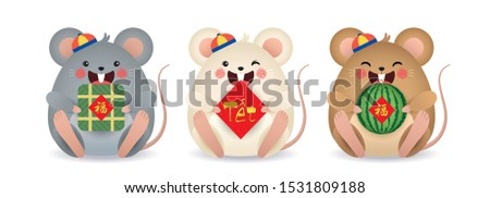 2020 year of the rat illustration. Set of cute cartoon mouse holding watermelon, couplet & banh chung (rice cake) isolated on white background. (translation: blessing ; vietnam lunar new year)