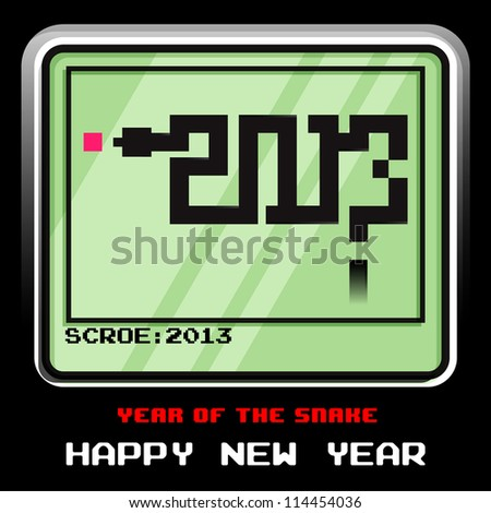 2013 year of the snake, snake 8bit game, vector illustrator