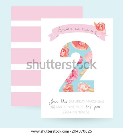 2 Year Old Birthday Invitation. Cute Girly Birthday Party Invitation Vector With Chic Flowers