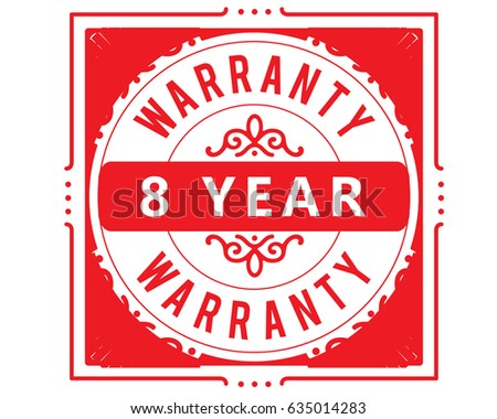 8 year red warranty icon...