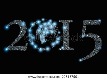 2015 year sign with world globe