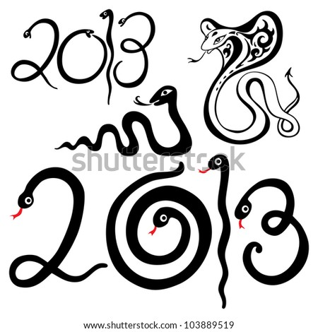 2013 Year snake symbol. Vector illustration isolated.