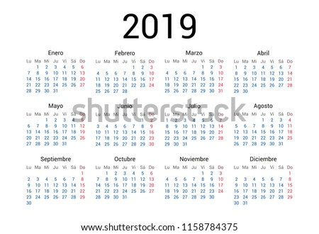 2019 year Spanish calendar in Spanish language. Classical, minimalistic, simple design. White background. Vector Illustration. Week starts from monday.