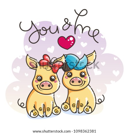 2019 year symbol. Cute cartoon golden baby pigs in love. Vector illustration