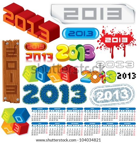 2013 Year. Vector Calendar and Labels. Week Starts on Monday