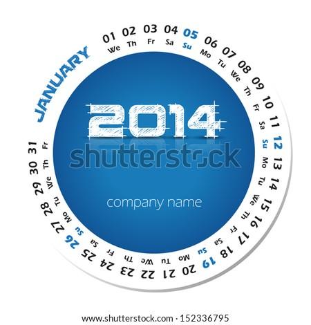 2014 year vector calendar for business wall calendar and business card. January