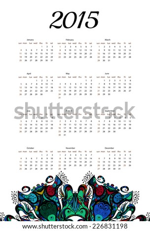 2015 year vector calendar in mehndi ethnic style Mandala ornament.Can be used for print design