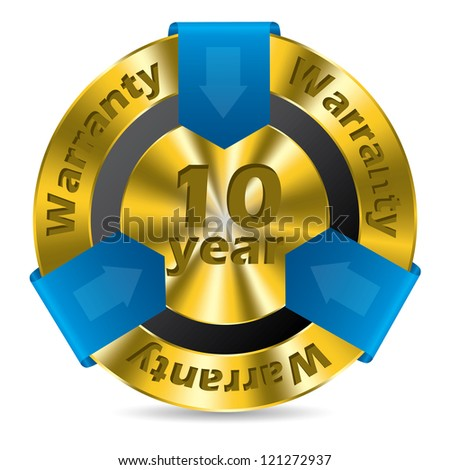 10 year warranty badge design in gold and blue color