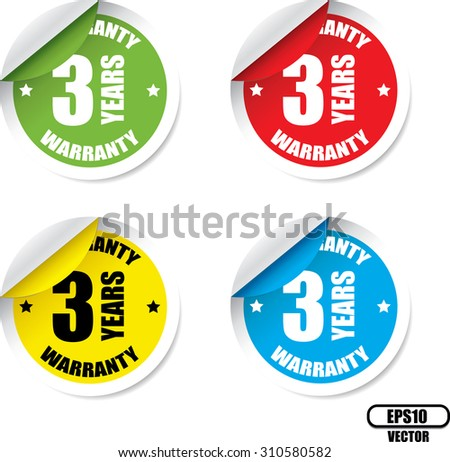 3 year warranty colorful label