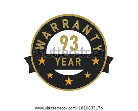 93 year warranty gold text with