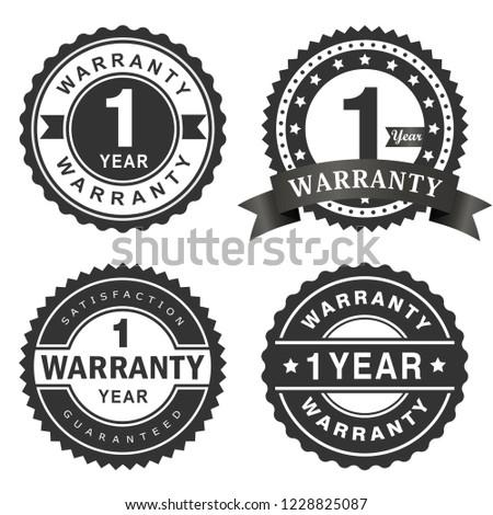 1 Year warranty vector badge labels Stock photo ©