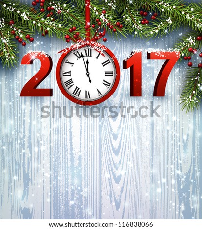 2017 year wooden background