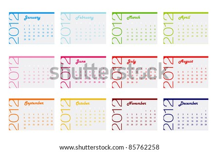 2012 yearly calendar in trendy colors for each month
