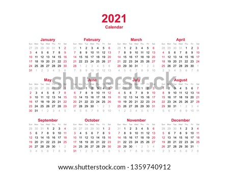 2021 yearly calendar - 12 months yearly calendar set in 2021 - set of calendar year 2021 - calendar template in landscape orientation - A0 size