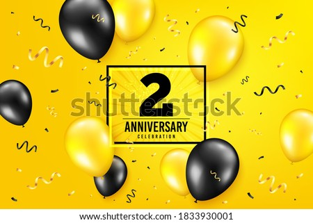 2 years anniversary. Anniversary birthday balloon confetti background. Two years celebrating icon. Celebrate yellow banner. Birthday party balloon background. Age in a frame box. Vector