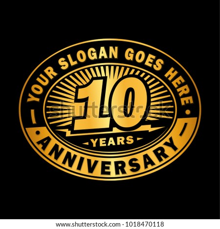10 years anniversary. Anniversary logo design.