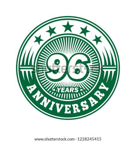 96 years anniversary. Anniversary logo design. Vector and illustration.