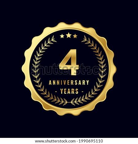 4 Years Anniversary Badge Design Vector. Vector Anniversary Badge design download.