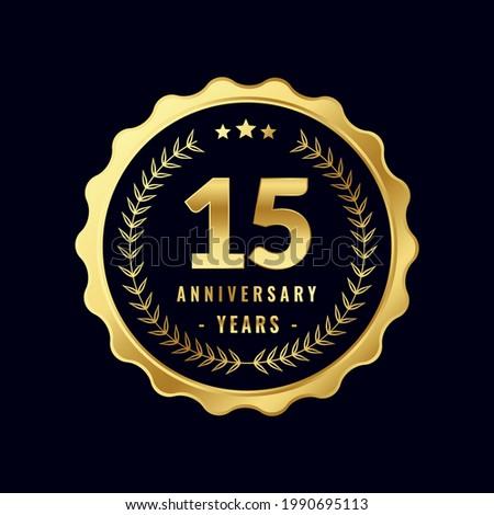 15 Years Anniversary Badge Design Vector. Vector Anniversary Badge design download.