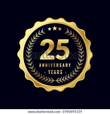 25 Years Anniversary Badge Design Vector. Vector Anniversary Badge design download.