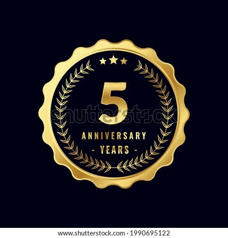 5 Years Anniversary Badge Design Vector. Vector Anniversary Badge design download.