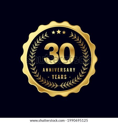 30 Years Anniversary Badge Design Vector. Vector Anniversary Badge design download.
