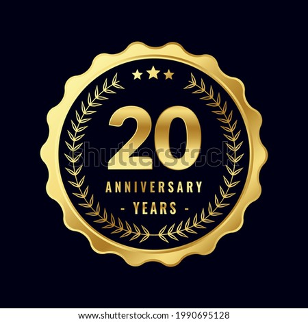 20 Years Anniversary Badge Design Vector. Vector Anniversary Badge design download.