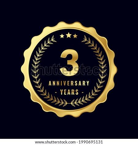3 Years Anniversary Badge Design Vector. Vector Anniversary Badge design download.