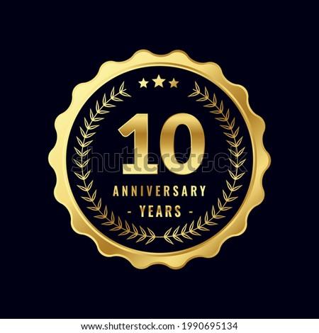 10 Years Anniversary Badge Design Vector. Vector Anniversary Badge design download.