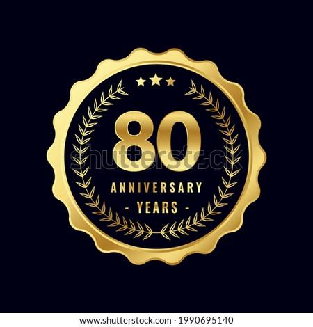 80 Years Anniversary Badge Design Vector. Vector Anniversary Badge design download.