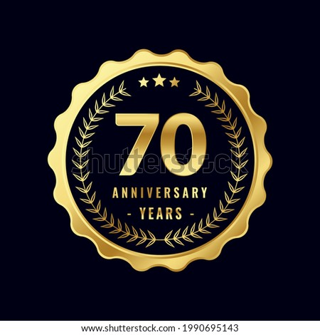 70 Years Anniversary Badge Design Vector. Vector Anniversary Badge design download.