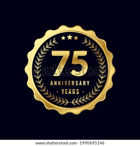 75 Years Anniversary Badge Design Vector. Vector Anniversary Badge design download.