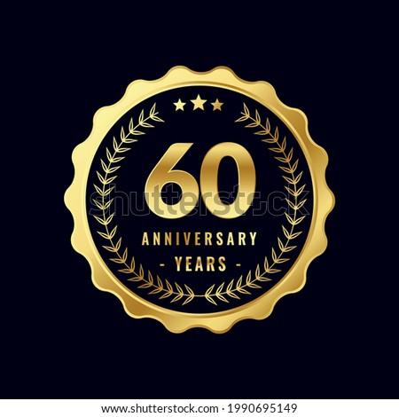 60 Years Anniversary Badge Design Vector. Vector Anniversary Badge design download.