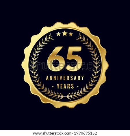 65 Years Anniversary Badge Design Vector. Vector Anniversary Badge design download.
