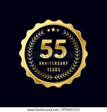 55 Years Anniversary Badge Design Vector. Vector Anniversary Badge design download.
