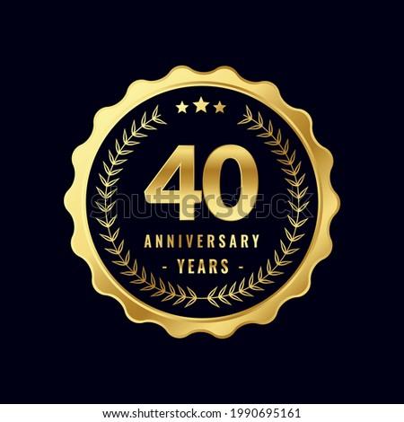 40 Years Anniversary Badge Design Vector. Vector Anniversary Badge design download.