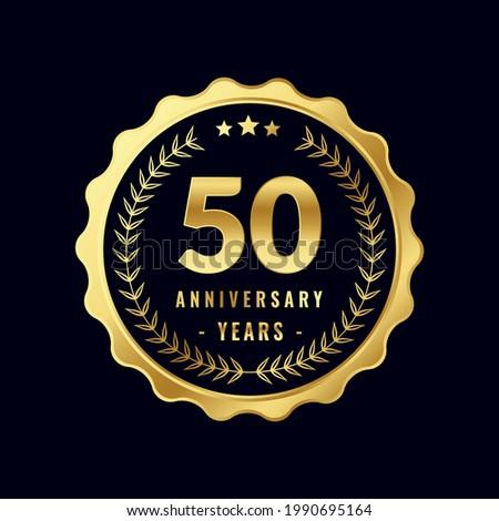 50 Years Anniversary Badge Design Vector. Vector Anniversary Badge design download.