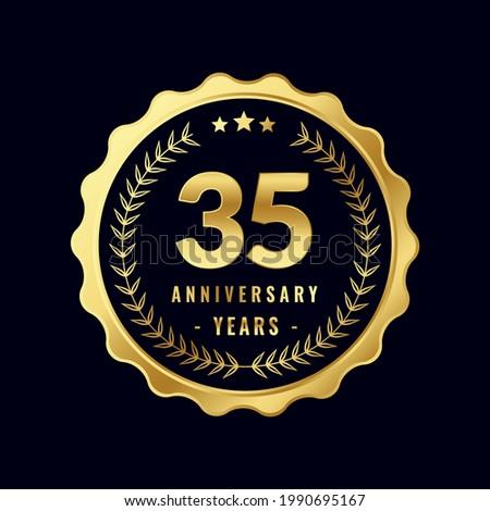 35 Years Anniversary Badge Design Vector. Vector Anniversary Badge design download.
