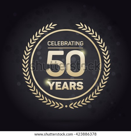 Shutterstock 50 years Anniversary Badge on Black Background Vector Illustration.